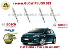 FOR FIAT GRANDE + PUNTO + EVO 1.3D MULTIJET 199 2010-> DIESEL GLOW PLUGS SET (4)