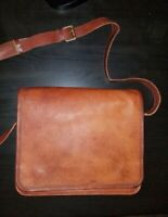 Men Genuine Natural Shiny Leather Vintage Laptop Messenger Briefcase Bag Satchel