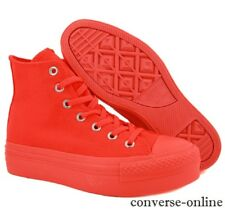 Womens CONVERSE All Star PLATFORM HI TOP CORAL ORANGE Trainers Boots SIZE UK 3.5