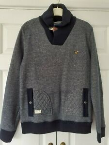 Mens Voi Blue smart jumper/sweatshirt with toggle detail on the neck, blue