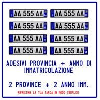 2 ADESIVI PROVINCIA + 2 ANNO IMMATRICOLAZIONE TARGA AUTO EUROPEA RIPRISTINO AUTO