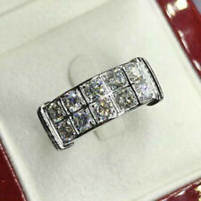 Men's 2 Ct Round Cut Diamond Engagement Ring Wedding Band 14K White Gold Over