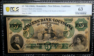 1860's LOUISIANA New Orleans Citizens Bank $5  PCGS 63 CH UNC RFID CHIP