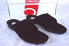 Rohde Zehentrenner Pantolette Leder Gr. 38 schwarz weiches Fußbett