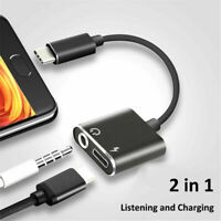 Type C to 3.5 mm Charger 2 in1 Headphone AUX Audio Jack USB C Cable Adapter