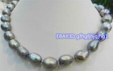 Freshwater Baroque Pearl Necklace 17'' Beautiful 10-12mm Silver Gray