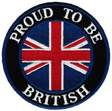 PROUD TO BE BRITISH Union Jack UK GB Flag Sew On Iron On Embroidered Patch 3""