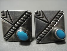 Gem Turquoise Silver Cufflinks Old Early 1900'S Vintage Navajo Domed Blue
