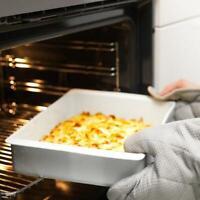 kleine Ofenform Backblech Auflaufform Ofenschale Feldspatporzellan 38x26 cm weiß