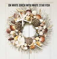 "21"" Sea Shell Wreath on Birch Twig with Exotic Sea Urchins & White Star Fish"