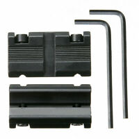 "1 Pair Picatinny 11mm Dovetail To 7/8"" 20mm Weaver Rail Adapter Mount Black Set"