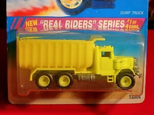 Hot Wheels ~ Dump Truck ~ 1995 Real Riders Series #1/4,  Bright Lime Green