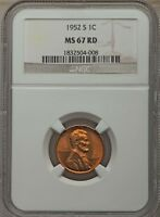 1952-S 1C Lincoln Wheat Cent GEM RED NGC MS67 RD #1832504-008 GREAT EYE APPEAL!!