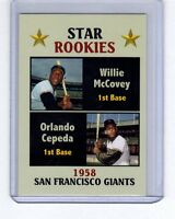 Star Rookies Willie McCovey/Orlando Cepeda '58, Fan Club serial #/300