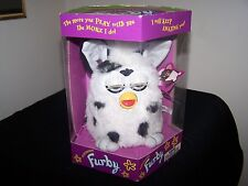 Vintage 1998 Original 1st Generation Furby White with Black Spots and Blue Eyes