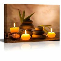"Canvas Art Prints- Spa Still Life with Aromatic Candles and Zen Stones-24"" x 36"""