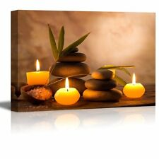 """Canvas Prints  - Spa Still Life with Aromatic Candles and Zen Stones - 24"""" x 36"""""""