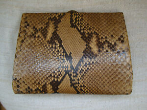 Vintage women's clutch made of real snake skin, handmade, new condition, made in