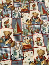 New Daisy Kingdom Blue Jean Teddy Picture Patch All Over 1.75 Yds 44� Wide