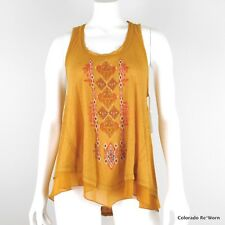 Coco + Jaimeson Sz S Earth Angel Embroidered Boho Burnout Layer Look Tank Top