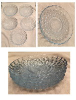 "VINTAGE 5.5"" Glass Saucers / Appetizer Plates Set of 5 Tinted Blue Scalloped Rim"
