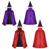 Girl Children Witches Hat Vampire Cape Cloak Party Fancy Halloween Costume*