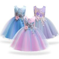 Girl Flower Princess Dresses Party Evening Gown Kid Bowknot Mesh Dress Xmas Gift