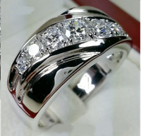 Round Cut Diamond Fancy Engagement Mens Rings Wedding Band 14k White Gold Finish