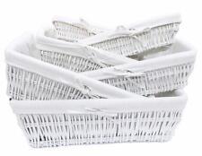 Full Wicker Strong Wider Shallow Wicker Storage Basket Xmas Hamper Basket Gift