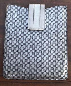 Gucci iPad Case Sleeve Grey Metallic Leather Suede Interior