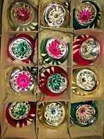 Box 12 Vintage INDENT JAPAN MINI Feather Tree Glass Xmas Ornaments Best!!