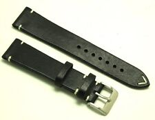 21mm Vintage Black/White Quality Leather Watch Band Handmade Silver Buckle