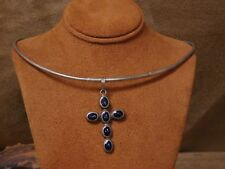 with Faux Lapis Cross Pendant Sterling Silver Round Omega Chain