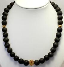 Lava COLLAR, cadena de piedras preciosas, lavakette, negro, Plata 925 , único ,
