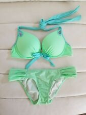 Victoria's Secret Lime Green GORGEOUS Add 1.5 Cups 34A XS Bombshell SWIM AQUA