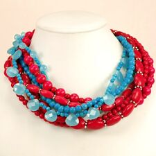 Multi-Strand Red Magnesite Turquoise Blue Jade Bead Necklace w/Silver Clasp 21""