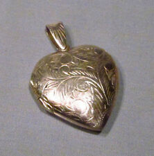 "Vintage Sterling Silver Etched Chased Large 1 3/4"" Puffed Heart Locket Pendant"
