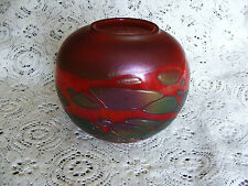 """Phoenician  Red  Iridescent  Heavy  Squat  Glass  Vase  Signed  On  Base Ht . 5"""""""