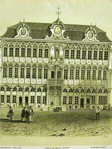 Brussels Lisbet LA GRAND PALACE BRUXELLES 1851 Antique Art Print Matted