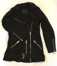All Saints Felis Black Denim Longline Biker Jacket UK 6 US 2