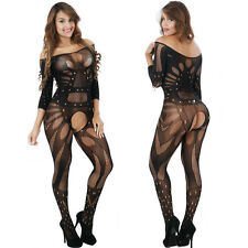 Sexy-Lingerie-Sleepwear-Net-Women's-Bodystockings-Crotchless-Babydoll-Nightwear
