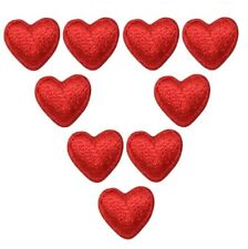 Mini Red Heart Applique Patch (9-Pack, Small, Iron on)