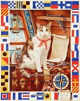 Il Navi Gatto Stampa Grande Tela Marinaio Immagine Poster Pittura Geoff Tristram