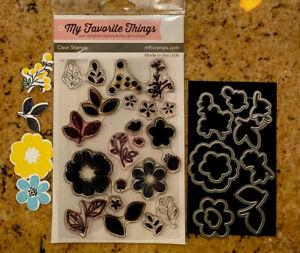 MY FAVORITE THINGS MFT BLISSFUL BLOOMS STAMP & DIE SET Fun  florals.