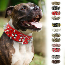 PU Leather Adjustable Spiked Studded Dog Collar 2inch Wide for Large Dog Pitbull