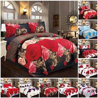 3D Duvet Quilt Cover with Pillowcase 4 Piece Bedding Set Single Double King Size