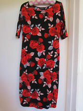 Stretchy Black & Red Floral D Perkins Dress in Size 10