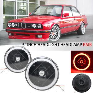 "5.75 inch 5 3/4"" Round Red Halo Angel Eyes Clear Lens Black Headlights Headlamp"