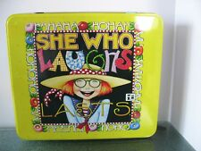 """Mary Engelbreit """"She Who Laughs Lasts"""" Metal Cookie Tin Storage Hinged Box"""
