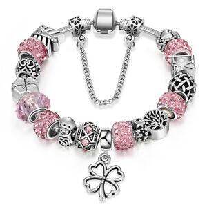 WOW NEW Silver Pink Rhinestone Clover Leaf Murano Beads European Charm Bracelet